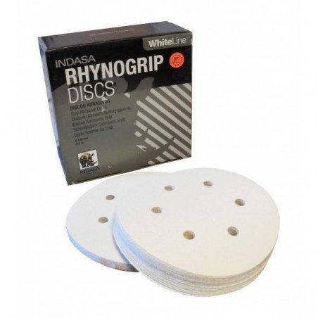 Krążek biały RHYNOGRIP na rzep Indasa 150mm 6otw. P220
