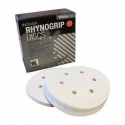 Krążek biały RHYNOGRIP na rzep Indasa 150mm 6otw. P100